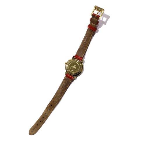 FENDI フェンディ<br>【Vintage ヴィンテージ】<br>ラインストーン文字盤QZ腕時計 レッド