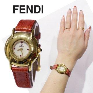 FENDI フェンディ ヴィンテージ<br>ラインストーン文字盤QZ腕時計 レッド