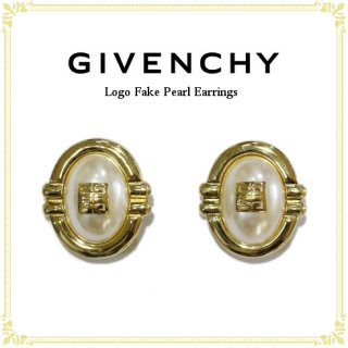 GIVENCHY ジバンシー<br>【Vintage ヴィンテージ】<br>ロゴフェイクパールイヤリング