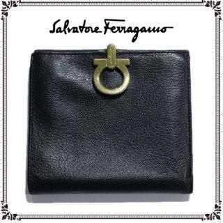 Ferragamo フェラガモ ヴィンテージ<br>ガンチーニレザー二つ折り財布 ネイビー