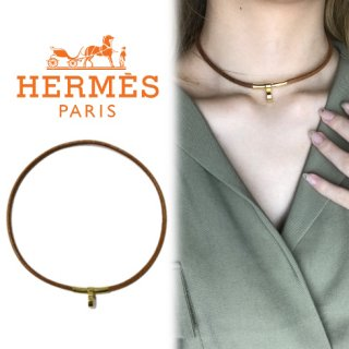 HERMES エルメス<br>【Vintage ヴィンテージ】<br>レザーチョーカー