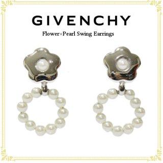GIVENCHY ジバンシー<br>【Vintage ヴィンテージ】<br>フラワー×パールスウィングイヤリング
