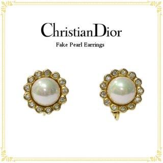Dior ディオール<br>【Vintage ヴィンテージ】<br>フェイクパールイヤリング