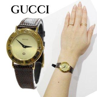 GUCCI グッチ<br>【Vintage ヴィンテージ】<br>レザーベルトQZ腕時計 3000L ブラウン