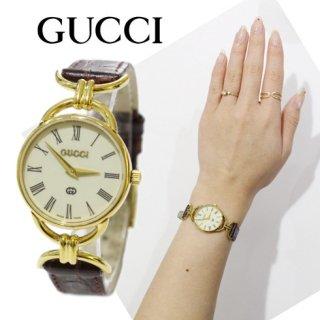 GUCCI グッチ<br>【Vintage ヴィンテージ】<br>レトロ文字盤QZ腕時計 6000L ワインレッド