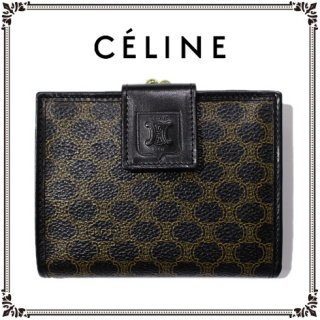 CELINE セリーヌ<br>【Vintage ヴィンテージ】<br>マカダム柄がま口二つ折り財布