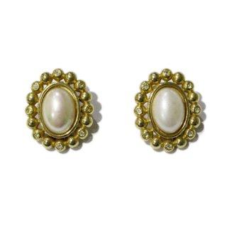 Dior ディオール<br>【Vintage ヴィンテージ】<br>オバールフェイクパールイヤリング