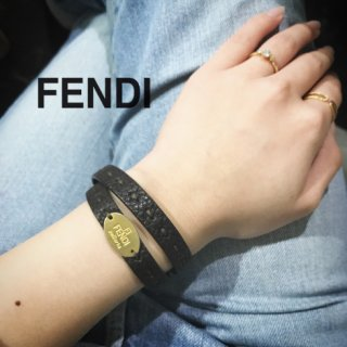 FENDI フェンディ<br>【Vintage ヴィンテージ】<br>セレリアレザーブレスレット