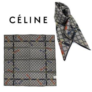 CELINE セリーヌ ヴィンテージ<br>マカダム柄スカーフ