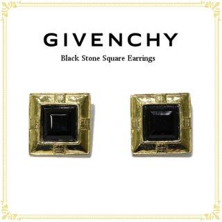 GIVENCHY ジバンシー<br>【Vintage ヴィンテージ】<br>ブラックストーンスクエアイヤリング