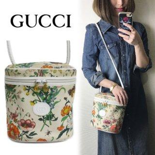 GUCCI グッチ<br>【Vintage ヴィンテージ】<br>フローラ花柄キャンバスショルダーバッグ