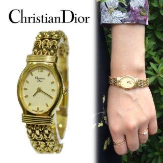 Dior ディオール<br>【Vintage ヴィンテージ】<br>アンティーク チェーンオバールQZ腕時計
