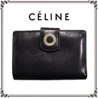 CELINE セリーヌ ヴィンテージ<br>サークルモチーフがま口二つ折り財布