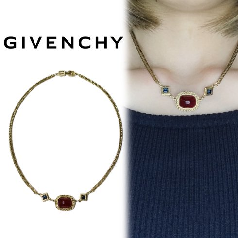GIVENCHY ジバンシー<br>【Vintage ヴィンテージ】<br>カラーストーンネックレス