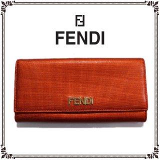 FENDI フェンディ<br>【Vintage ヴィンテージ】<br>メタリックレッド長財布