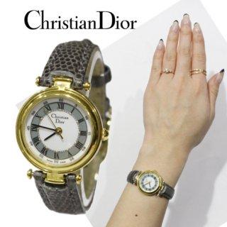 Dior ディオール<br>【Vintage ヴィンテージ】<br>レザーベルトQZ腕時計 グレー