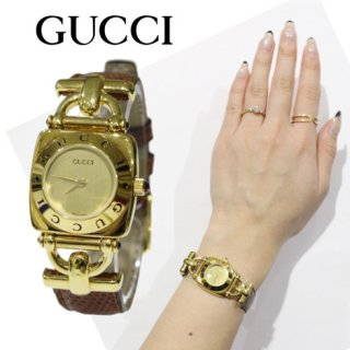 GUCCI グッチ<br>【Vintage ヴィンテージ】<br>ホースビット レザーベルトQZ腕時計 6300L ブラウン