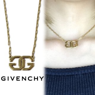 GIVENCHY ジバンシー ヴィンテージ<br>ゴールドロゴネックレス