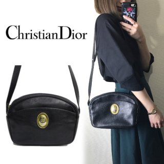 Dior ディオール<br>【Vintage ヴィンテージ】<br>型押しレザーショルダーバッグ