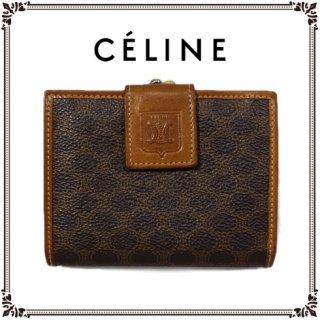 CELINE セリーヌ<br>【Vintage ヴィンテージ】<br>マカダム柄がま口二つ折り財布 ブラウン