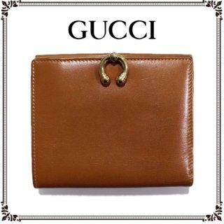 GUCCI グッチ<br>【Vintage ヴィンテージ】<br>ホースシュー二つ折り財布