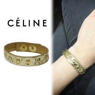 CELINE セリーヌ<br>【Vintage ヴィンテージ】<br>スタッズレザーブレスレット ゴールド
