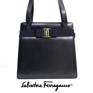 Ferragamo フェラガモ<br>【Vintage ヴィンテージ】<br>ヴァラカーフレザーショルダーバッグ ネイビー
