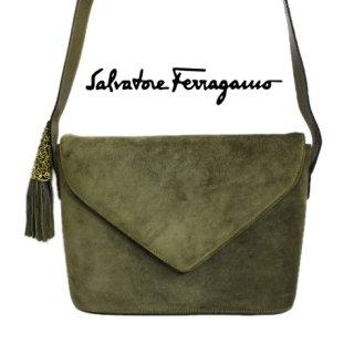 Ferragamo フェラガモ<br>【Vintage ヴィンテージ】<br>フリンジタッセルスウェードショルダーバッグ