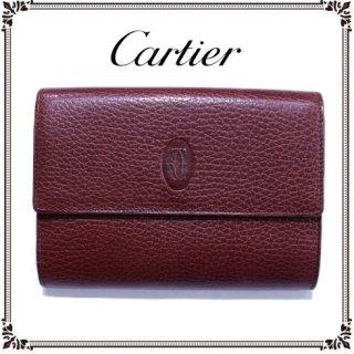 Cartier カルティエ<br>【Vintage ヴィンテージ】<br>マストラインがま口三つ折り財布