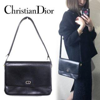 Dior ディオール<br>【Vintage ヴィンテージ】<br>ロゴレザーショルダーバッグ
