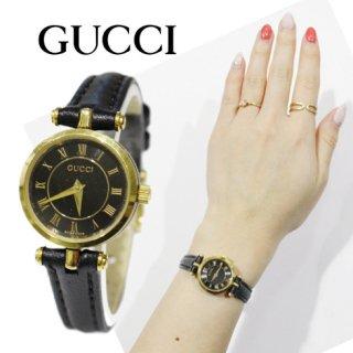 GUCCI グッチ<br>【Vintage ヴィンテージ】<br>シェリーラインレザーベルトQZ腕時計 2040L