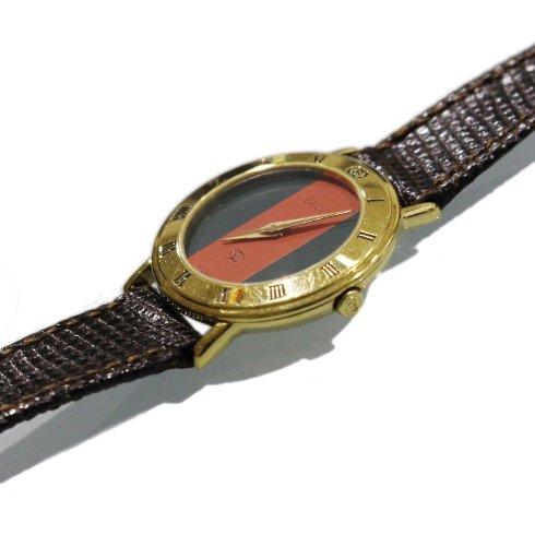 GUCCI グッチ ヴィンテージ<br>シェリー配色レザーベルトQZ腕時計 3000L