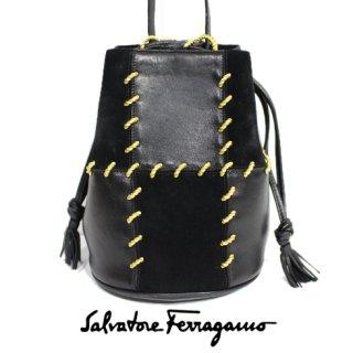Ferragamo フェラガモ<br>【Vintage ヴィンテージ】<br>パッチワーク巾着ショルダーバッグ