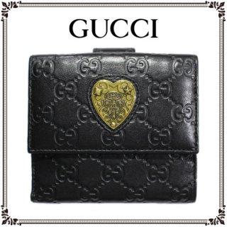 GUCCI グッチ ヴィンテージ<br>ハートモチーフ×シマWホック二つ折り財布