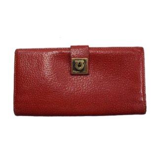 Ferragamo フェラガモ<br>【Vintage ヴィンテージ】<br>ガンチーニレザー長財布 レッド
