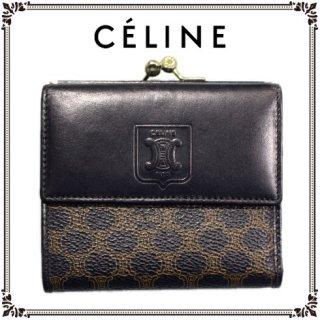 CELINE セリーヌ ヴィンテージ<br>マカダム柄がま口三つ折り財布
