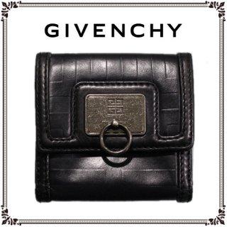 GIVENCHY ジバンシー<br>【Vintage ヴィンテージ】<br>型押しレザーWホック二つ折り財布