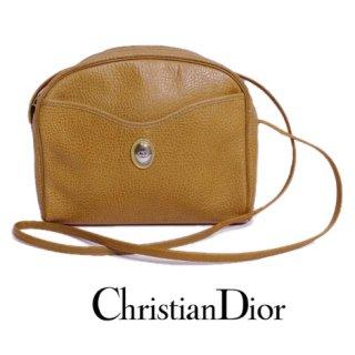 Dior ディオール<br>【Vintage ヴィンテージ】<br>型押しレザーショルダーバッグ キャメル