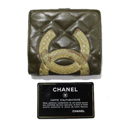 CHANEL シャネル ヴィンテージ<br>パイソン×カンボンライン二つ折り財布