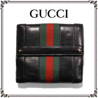 GUCCI グッチ<br>【Vintage ヴィンテージ】<br>シェリーラインスタッズ二つ折り財布
