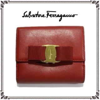 Ferragamo フェラガモ ヴィンテージ<br>ヴァラ二つ折り財布 レッド