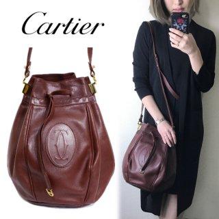Cartier カルティエ<br>【Vintage ヴィンテージ】<br>マストライン巾着ショルダーバッグ