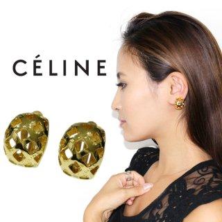 CELINE セリーヌ ヴィンテージ<br>ゴールドロゴ格子イヤリング