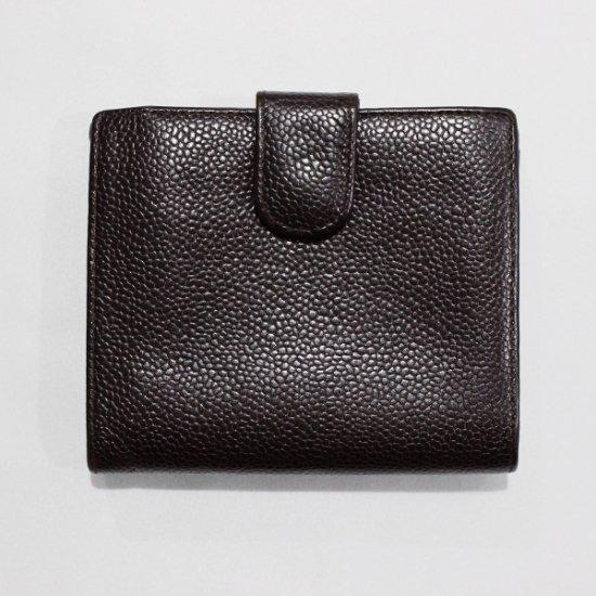 CHANEL シャネル<br>【Vintage ヴィンテージ】<br>ココマークキャビアスキン二つ折り財布 ダークブラウン