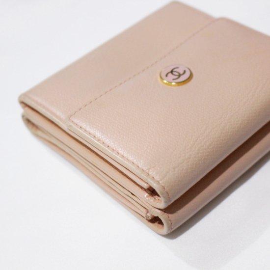 CHANEL シャネル<br>【Vintage ヴィンテージ】<br>ココボタン二つ折り財布 ピンクベージュ