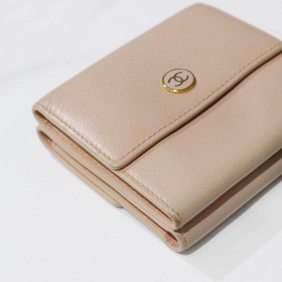 CHANEL シャネル ヴィンテージ<br>ココボタン二つ折り財布 ピンクベージュ