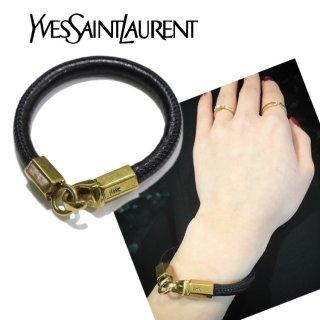 YSL イヴサンローラン ヴィンテージ<br>ロゴ金具レザーブレスレット
