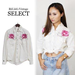 RiLish's SELECT ヴィンテージ<br>ROCK MOUNT花柄刺繍シャツ