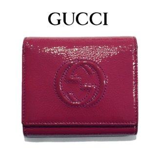 GUCCI グッチ ヴィンテージ<br>GGパテント三つ折り財布