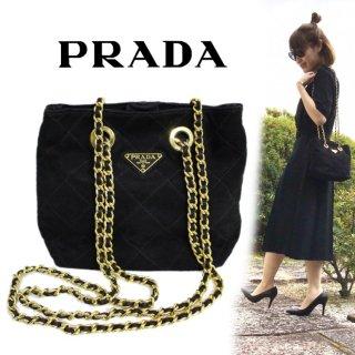 PRADA プラダ ヴィンテージ<br>スウェードキルティングチェーンバッグ